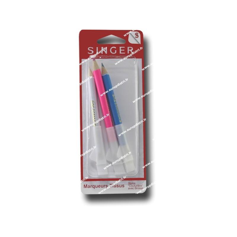 Crayon a marquer avec brosse x 3 bleu blanc rouge singer - Brosse a dent bleu blanc rouge ...