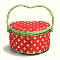 coffret a ouvrage polka dots rouge blanc coeur M Réf 66/612294