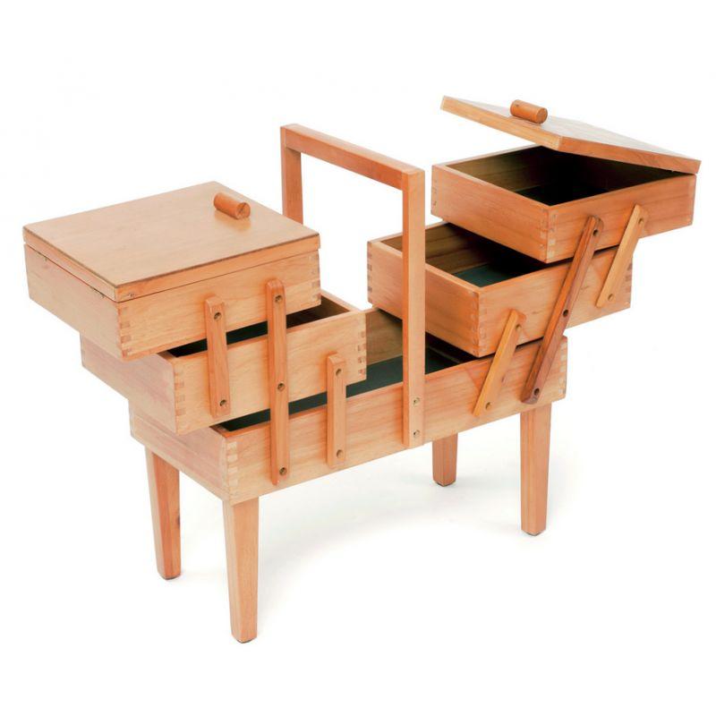 Travailleuse couture en bois for Travailleuse boite couture sur pied