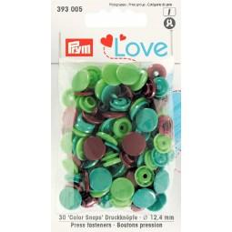 Boutons pression ass. Vert 12,4mm Prym Love Réf 66/393005