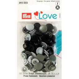 Boutons pression gris 12 mm Prym Love Réf 66/393003