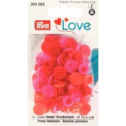 Boutons pression rouge 12mm Prym Love Réf 66/393002