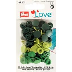 Boutons pression vert 12mm Prym Love Réf 66/393001