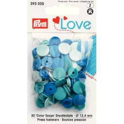 Boutons pression bleu 12 mm Prym Love Réf 66/393000