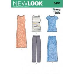 Patron New Look N°6458 Robe, tee shirt, pantalon, jupe