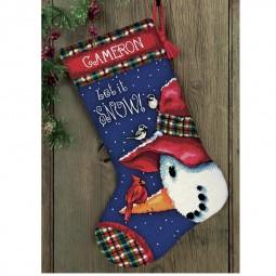 Points de croix : chaussette de Noël à réaliser, bonhomme de neige profil. Réf 57/95/D71-09149