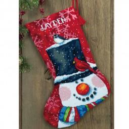 Points de croix : chaussette de Noël à réaliser, bonhomme de neige et oiseaux. Réf 57/95/D71-09146