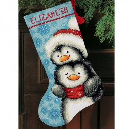 Points de croix : chaussette de Noël à réaliser, pingouins calins. Réf 57/95/D71-09144