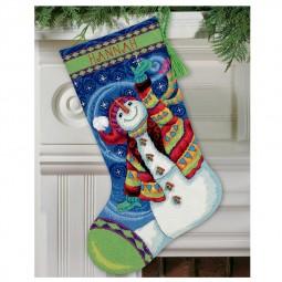 Points de croix : chaussette de Noël à réaliser, bonhomme de neige joyeux. Réf 57/95/D71-09143