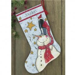 Points de croix : chaussette de Noël à réaliser, bonhomme de neige. Réf 57/95/D70-08924