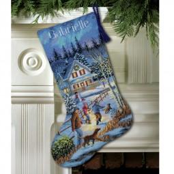 Points de croix : chaussette de Noël à réaliser, promenade. Réf 57/95/D08805