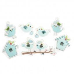 Décoration de Noël : Oiseaux et perchoirs blancs et turquoises à paillettes Réf 57/95/C1678