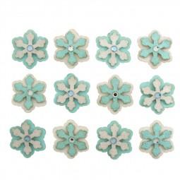 Décoration de Noël : Flocons blancs et turquoises à paillettes et strass Réf 57/95/C1677