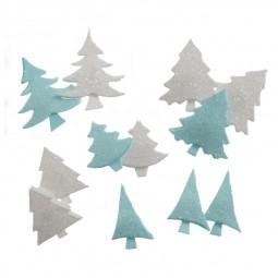 Embellissement, scrap : Sapins blancs et turquoises à paillettes adhésifs Réf 57/95/C1676