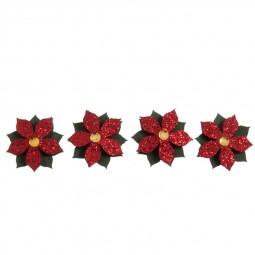 Décoration de Noël : Fleurs rouges à paillettes Réf 57/95/C1672