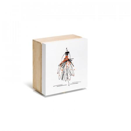 Boìte de rangement bois motif figurine - Lettre prix de vente conseillé PP