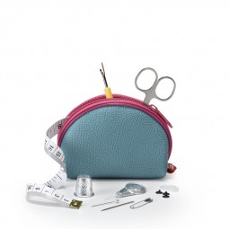 Travel Box trousse couture M bleu/fuchsia