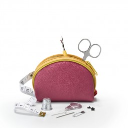 Travel Box trousse couture M fuchsia/jaune