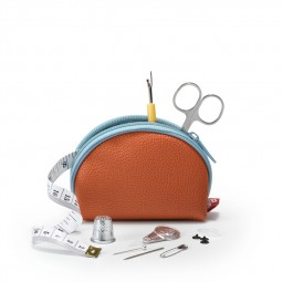 Travel Box trousse couture M orange/bleu