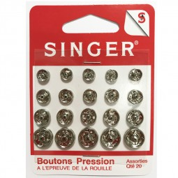 Boutons pressions assortis nickeles SINGER SF420.99 Réf 57/95/1203
