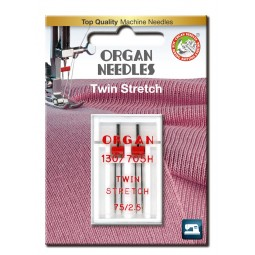aiguille 130/705H HAx1P Double Stretch 75 écartement 2,5 / 2 pcs ORGAN
