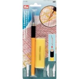 Couteau  D'Art Avec 3 Lames Speciales + Protection  PRYM Réf 611395