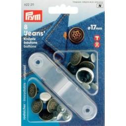 Boutons Jean 17 Mm Laiton  Plastique American Star Argent Ant. PRYM Réf 622211