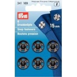 Boutons Pression A Coudre 15 Mm Laiton Noir  PRYM Réf 341169