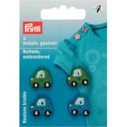 Boutons Brodes Voitures Vertes / Bleues PRYM Réf 312405