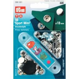 Boutons Pression Sport Mini 13 Mm Calotte Laiton Arg. + Outil PRYM Réf 390501
