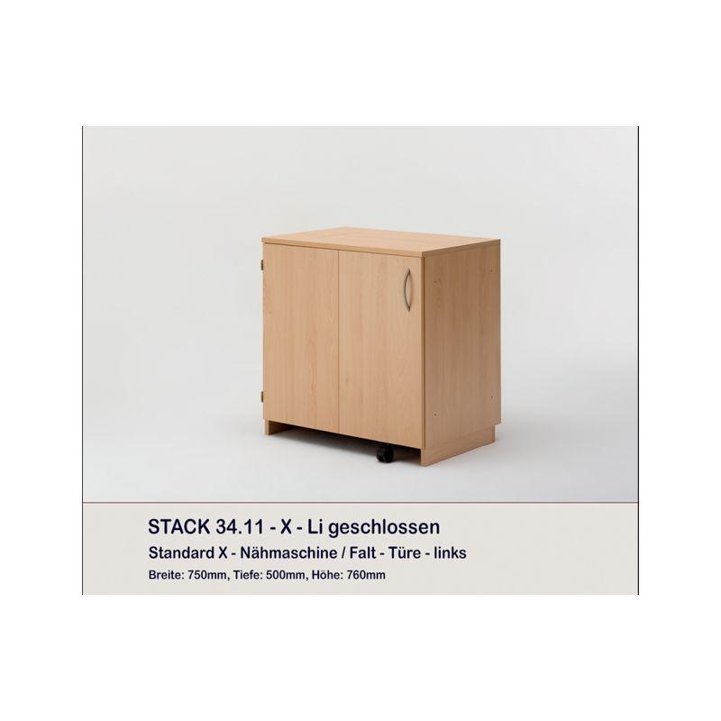 Meuble rangement machine à coudre ou surjeteuse, STACK, porte pliante s'ouvrant à gauche
