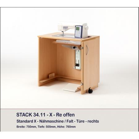 Meuble rangement machine à coudre ou surjeteuse, STACK, porte pliante s'ouvrant à droite