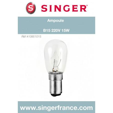 Ampoule B15 220V 15W sous blister Singer réf 10/85/1015.B