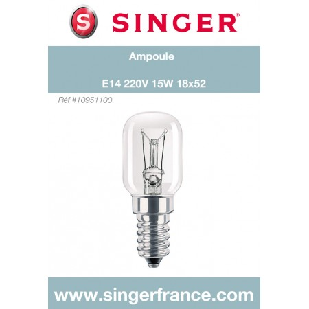 Ampoule E14 220V 15W sous blister Singer réf 10/95/1100.B