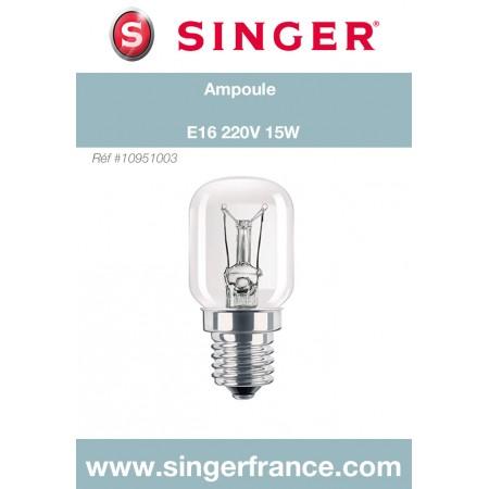 Ampoule E16 220V 15W sous blister Singer réf 10/95/1003.B