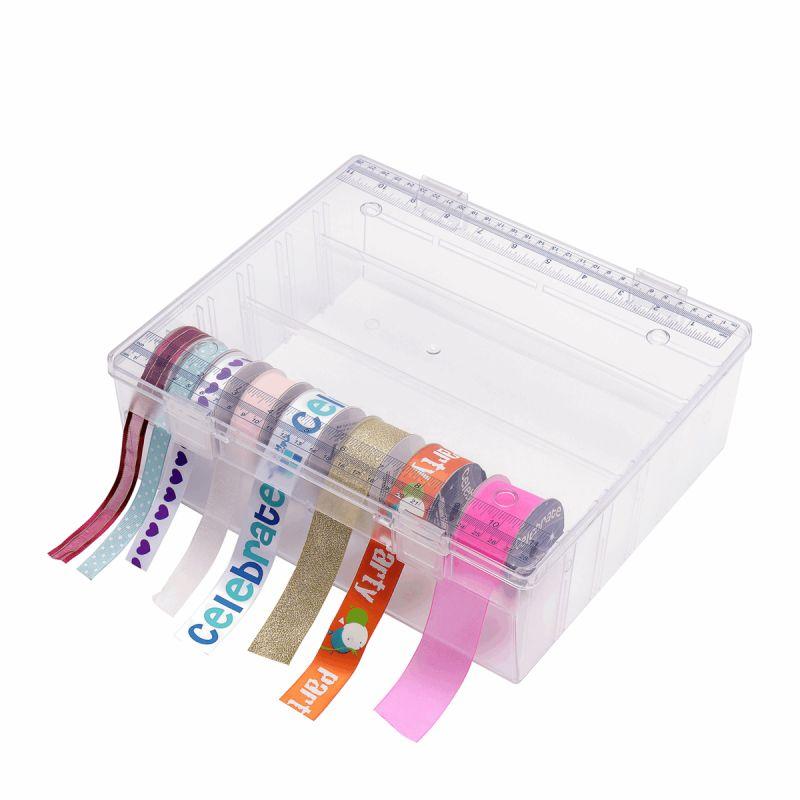 Boite de rangement plastique : rubans organiseur 29.5 x 25 x 9cm pour protéger et ranger les rubans